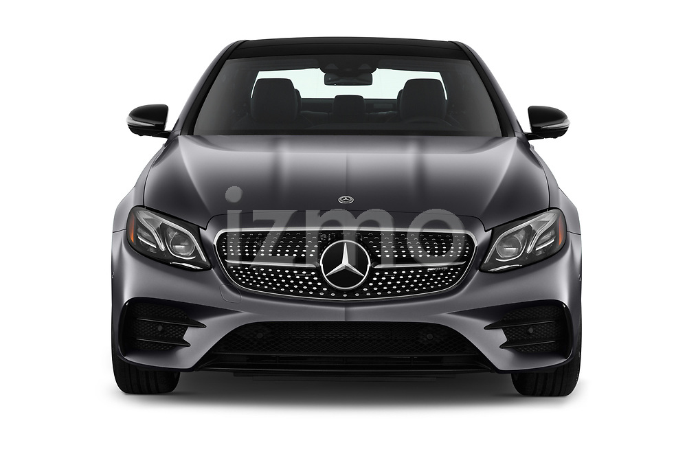 Car photography straight front view of a 2019 Mercedes Benz E-Class AMG-E53 4 Door Sedan Front View