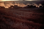Eastern Washington, Dayton,  Wheat harvest, American farms, combines at sunrise, Eastern Washington, Dayton, Washington State,
