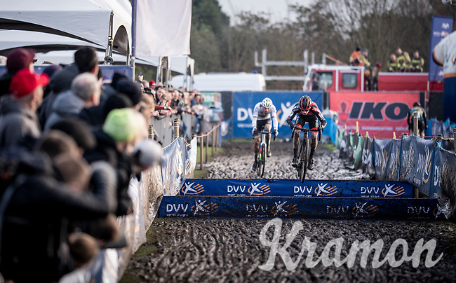 strong racing by Mathieu van der Poel (NED/Corendon-Circus) who captures race leader Eli Iserbyt (BEL/Pauwels Sauzen-Bingoal) after coming back from a race start crash that threw him all the back in the peloton early on<br /> <br /> Azencross Loenhout 2019 (BEL)<br />  <br /> ©kramon