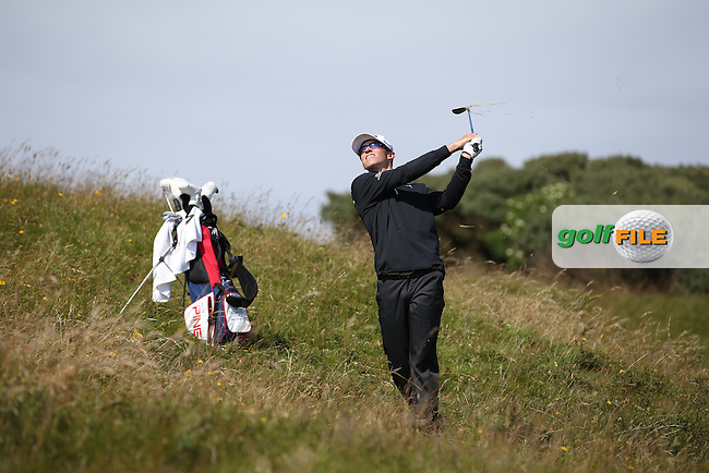 Brandon Hagy (USA) had a two hole lead over Mathias Eggenberger (Switzerland) but the Swiss golfer kept his calm to win on the 20th hole during Round One of the Match Play at The Amateur Championship 2014 from Royal Portrush Golf Club, Portrush, Northern Ireland. Picture:  David Lloyd / www.golffile.ie