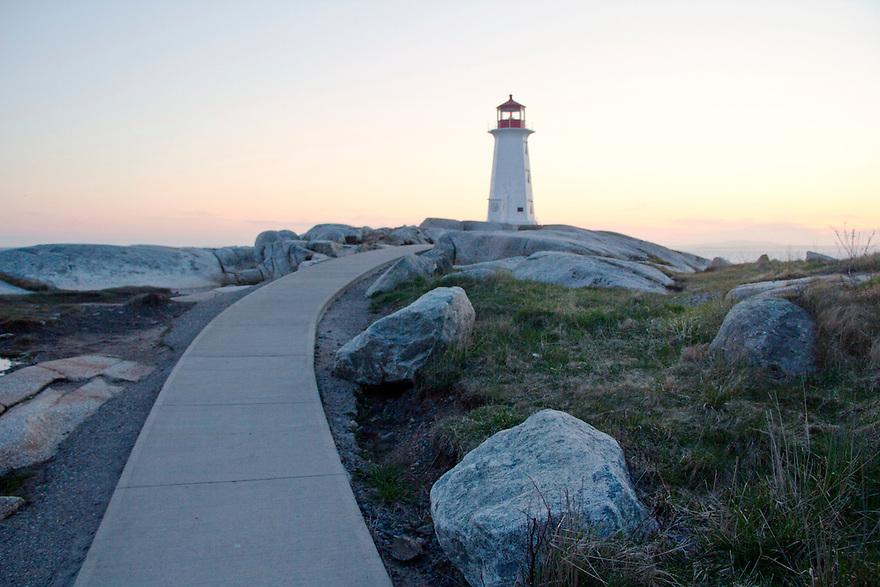Walkway to lighthouse at Peggys Cove Nova Scotia
