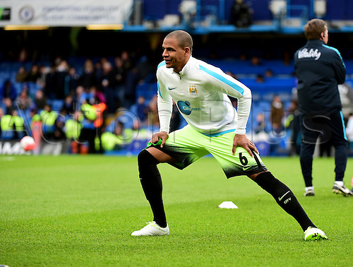 21.02.2016. Stamford Bridge, London, England. Emirates FA Cup 5th Round. Chelsea versus Manchester City. Manchester City's Fernando warms up