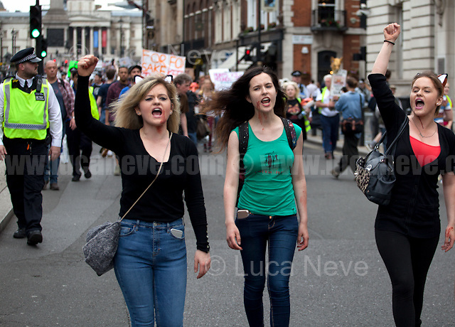 London, 29/05/2017. Today, thousands of animal rights protesters and members of the public, lead by &quot;Keep The Ban&quot;, gathered in Cavendish Square to march through Central London against the electoral pledge made by the Conservative Party of Theresa May to offer Parliament a free vote to repeal the ban on fox hunting. The march - claimed to be the largest public protest of the entire General Election campaign - was patrolled by heavy police presence and ended peacefully and loudly outside Downing Street.<br /> <br /> For more information please click here: https://www.facebook.com/events/241667576311495/