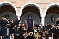 Pictured: The coffin of John Macris is carries by pallbearers including his brother Alexis (FRONT LEFT OF THE COFFIN) after the service at Agios Nektarios church in Voula, Athens Greece. Sunday 04 November 2018<br /> Re: The funeral of Greek-Australian John Macris, who was shot dead outside his house, to be held at the Agios Nektarios Church in the Voula suburb of Athens, Greece.