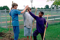 Teammates age 12 high fiving after working on baseball field.  St Paul  Minnesota USA