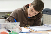 Painting & Decorating student in the classroom, Able Skills, Dartford, Kent.