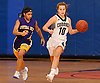 Olivia Vasselman #10 of Commack, right, dribbles downcourt as Ayanna Edwards #0 of Central Islip guards her during a Suffolk Shootout tournament game at Northport High School on Thursday, Dec. 28, 2017. Commack won by a score of 58-34.