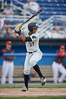 West Virginia Black Bears right fielder Sandy Santos (27) at bat during a game against the Batavia Muckdogs on June 25, 2017 at Dwyer Stadium in Batavia, New York.  Batavia defeated West Virginia 4-1 in nine innings of a scheduled seven inning game.  (Mike Janes/Four Seam Images)