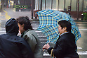 September 21, 2011 : Yokohama, Japan - Typhoon No.15 Roke hits eastern Japan on September 21, 2011. The typhoon which has already prompted calls for the evacuation of over 1 million people hit land today approximately 200 km South West of Tokyo. It is expected to travel up the coast through Tokyo and to the Tohoku region which is still suffering from the effects of the nuclear leak and March tsunami. In and around Tokyo most trains are stopped and many people are stuck at stations or even in trains and unable to get home. (Photo by Yumeto Yamazaki/AFLO)