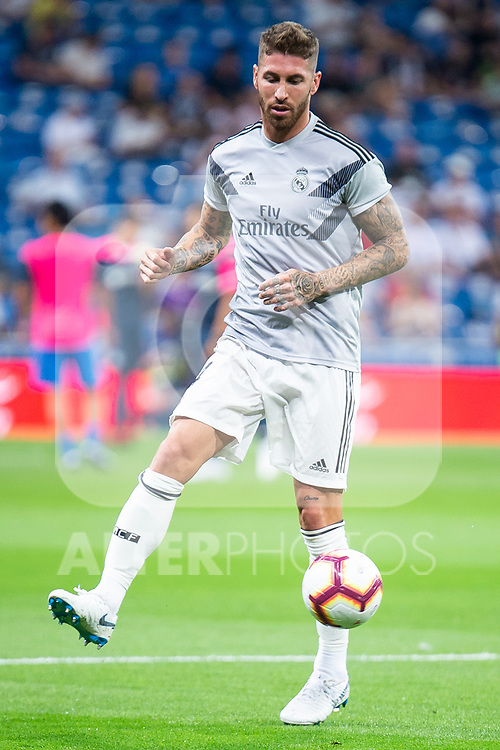 Real Madrid  Sergio Ramos during La Liga match between Real Madrid and Getafe CF at Santiago Bernabeu in Madrid, Spain. August 19, 2018. (ALTERPHOTOS/Borja B.Hojas)