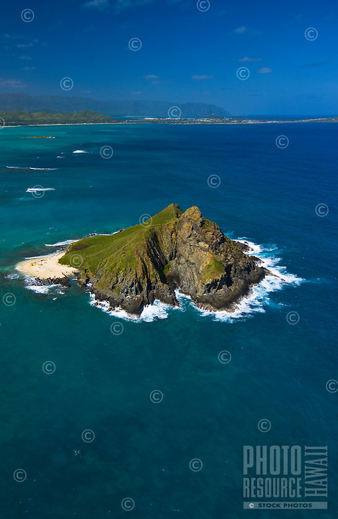 Aerial of one of the Moku Lua islands of the coast of Lanikai, Kailua, windward Oahu