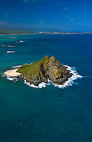 Aerial of one of the Moku Lua islands of the coast of Lanikai, Kailua, windward Oahu