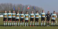 20180221 - TUBIZE , BELGIUM : Belgian team with Noa Corbeels (23)   Emilie Claerbout (22)   Fran Meersman (18   Inara Bouker (11)   Esther Buabadi (10)   Jenna Van De Keere (8)   Stephanie Pirotte (5)   Zenia Mertens (4)   Romy Camps (3)   Sosephine Delvaux (12)   Karlijn Knapen (7)   pictured during the friendly female soccer match between Women under 17 teams of  Belgium and Czech Republic , in Tubize , Belgium . Wednesday 21th February 2018 . PHOTO SPORTPIX.BE DIRK VUYLSTEKE