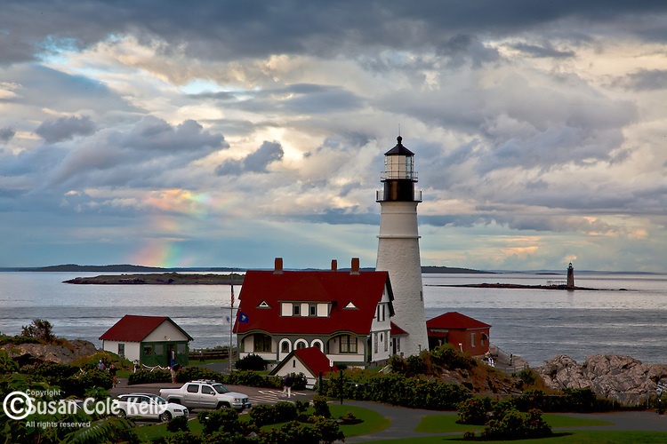 A rainbow at Portland Head Light in Cape Elizabeth, Casco Bay, ME, USA
