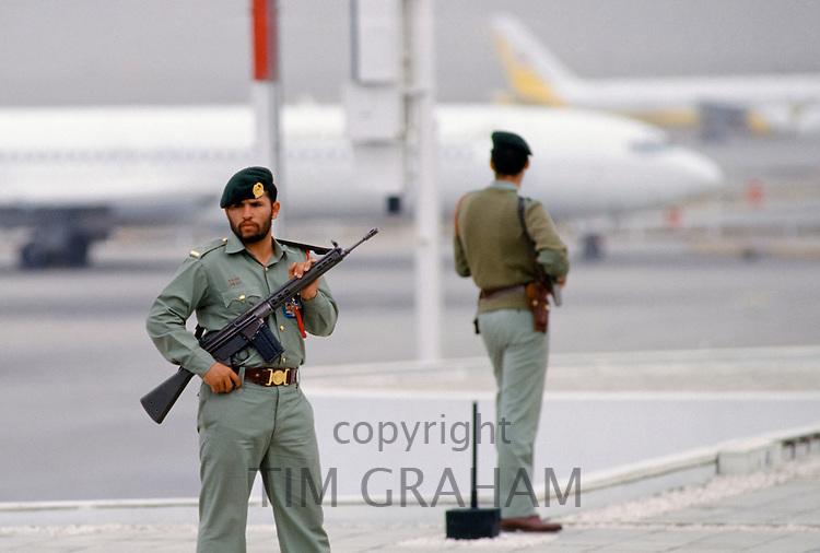 Armed guard for VIP arrival at Dubai International airport, United Arab Emirates