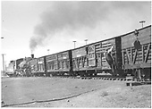 K-36 pusher/switcher with a train of stock cars.<br /> D&amp;RGW  Chama, NM  Taken by Richardson, Robert W. - 9/10/1946
