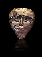 Electrum, gold silver alloy, Mycenaean death mask from Grave delta and Gamma, Grave Circle B, Mycenae, Greece. National Archaeological Museum of Athens.  Black Background
