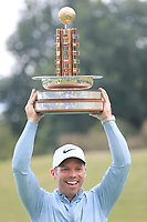 Paul Casey (ENG) holds the trophy after the final round of the Porsche European Open , Green Eagle Golf Club, Hamburg, Germany. 08/09/2019<br /> Picture: Golffile | Phil Inglis<br /> <br /> <br /> All photo usage must carry mandatory copyright credit (© Golffile | Phil Inglis)