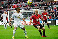 Sunday, 23 November 2012<br /> <br /> Pictured: Wayne Routlage of Swansea City and Paul Scholes of Manchester United<br /> <br /> Re: Barclays Premier League, Swansea City FC v Manchester United at the Liberty Stadium, south Wales.