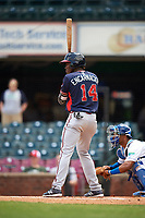 Rome Braves third baseman Jean Carlos Encarnacion (14) at bat during a game against the Lexington Legends on May 23, 2018 at Whitaker Bank Ballpark in Lexington, Kentucky.  Rome defeated Lexington 4-1.  (Mike Janes/Four Seam Images)