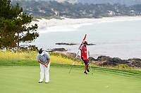 Kiradech Aphibarnrat (THA) barely misses his putt on 8 during round 1 of the 2019 US Open, Pebble Beach Golf Links, Monterrey, California, USA. 6/13/2019.<br /> Picture: Golffile | Ken Murray<br /> <br /> All photo usage must carry mandatory copyright credit (© Golffile | Ken Murray)