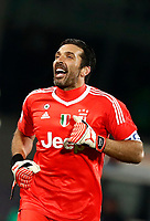 Calcio, Serie A: Fiorentina - Juventus, stadio Artemio Franchi Firenze 9 febbraio 2018.<br /> Juventus' Captain and goalkeeper Gianluigi Buffon celebrates after winning 2-0 the Italian Serie A football match between Fiorentina and Juventus at Florence's Artemio Franchi stadium, February 9, 2018.<br /> UPDATE IMAGES PRESS/Isabella Bonotto