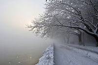 Pictured: The frozen over lake in Ioannina, northern Greece.<br /> Re: Heavy snow affects most parts of Greece