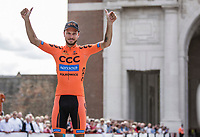 Podium with 2nd place finisher Pawel Bernas (POL/CCC). <br /> <br /> <br /> 1st Great War Remembrance Race 2018 (UCI Europe Tour Cat. 1.1) <br /> Nieuwpoort &gt; Ieper (BE) 192.7 km