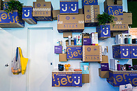 Jet.com products are on display in the Story store in West Chelsea in New York on Sunday, May 14, 2017. Story, a concept store, reinvents itself every four to eight weeks with this iteration a collaboration with the Wal-Mart owned Jet.com an online food purveyor.  (© Richard B. Levine)