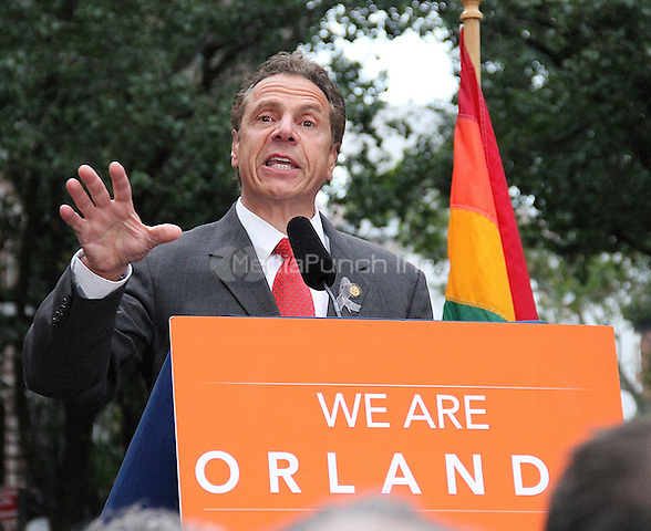 NEW YORK, NY - JUNE 13:  New York State Governor Andrew Cuomo at a vigil for the victims of the Orlando Mass Shooting held in Greenwich Village at the NYC LBGT landmark Stonewall Inn in New York, New York on June 13, 2016.  Photo Credit: Rainmaker Photo/MediaPunch