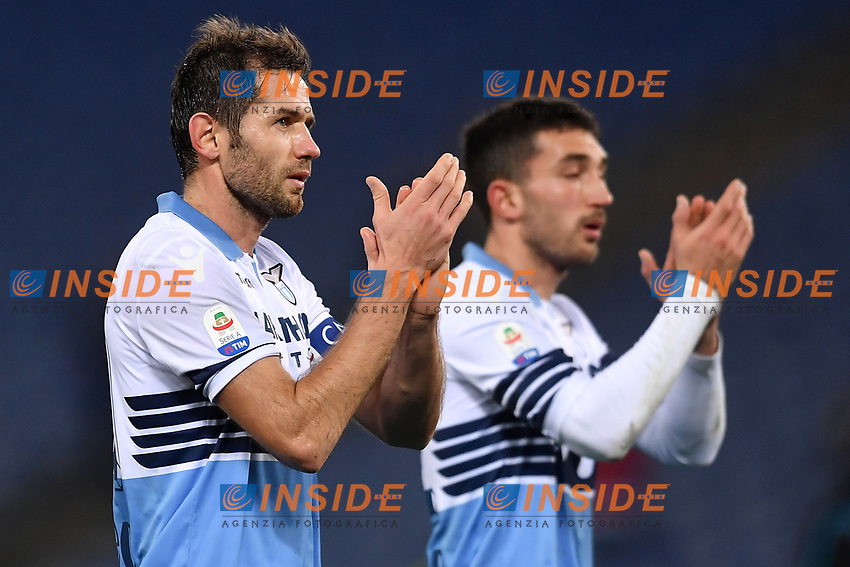 Senad Lulic of Lazio greets supporters at the end of the Serie A 2018/2019 football match between Lazio and Empoli at stadio Olimpico, Roma, February 7, 2019 <br />  Foto Andrea Staccioli / Insidefoto