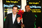 John Tartaglia & Elmo & Kevin Clash at the opening night of John Tartaglia's Imaginocean, a new family undersea musical adventure on March 31, 2010 at New World Stages, New York City, New York. John Tartaglia's ImaginOcean is an interactive family show - a magical, musical undersea adventure for kids of all ages. Tank, Bubbles, and Dorsel are three best friends who just happen to be fish, and they're about to set out on a remarkable journey of discovery. And it all starts with a treasure map. As they swim off in search of clues, they'll sing, they'll dance, and they'll make new friends -- including everyone in the audience. Ultimately, they discover the greatest treasure of all -- friendship. Jam-packed with original music ranging from swing to R&B to Big Band, John Tartaglia's ImaginOcean is a blast rom the first big splash to the last wave goodbye. (Photo by Sue Coflin/Max Photos)