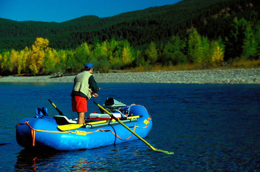 Fly fishing on the Middle Fork of the Flathead River, Montana.