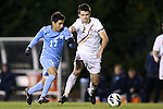 01 November 2012: UNC's Danny Garcia (17) and Boston College's Chris Ager (NOR) (2). The University of North Carolina Tar Heels played the Boston College Eagles at Fetzer Field in Chapel Hill, North Carolina in a 2012 NCAA Division I Men's Soccer game. UNC defeated Boston College 4-0.