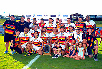 The Waikato Men's team celebrates winning the cup final on day two of the 2018 Bayleys National Sevens at Rotorua International Stadium in Rotorua, New Zealand on Sunday, 14 January 2018. Photo: Dave Lintott / lintottphoto.co.nz