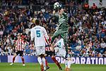 Real Madrid Raphael Varane and Keylor Navas during La Liga match between Real Madrid and Athletic Club at Santiago Bernabeu Stadium in Madrid. April 19, 2017. (ALTERPHOTOS/Borja B.Hojas)