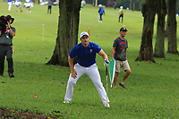 Paul Dunne (Europe) in the rough on the 9th during the Friday Foursomes of the Eurasia Cup at Glenmarie Golf and Country Club on the 12th January 2018.<br /> Picture:  Thos Caffrey / www.golffile.ie