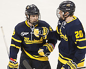 Jace Hennig (Merrimack - 9), Hampus Gustafsson (Merrimack - 20) - The Boston College Eagles defeated the visiting Merrimack College Warriors 2-1 on Wednesday, January 21, 2015, at Kelley Rink in Conte Forum in Chestnut Hill, Massachusetts.