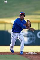 AZL Cubs 1 second baseman Oswaldo Pina (60) turns a double play during an Arizona League game against the AZL Athletics Gold at Sloan Park on June 20, 2019 in Mesa, Arizona. AZL Athletics Gold defeated AZL Cubs 1 21-3. (Zachary Lucy/Four Seam Images)