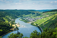 Deutschland, Rheinland-Pfalz, Moseltal, Traben-Trarbach: Blick von Starkenburg auf Enkirch | Germany, Rhineland-Palatinate, Moselle Valley, Traben-Trarbach: view from Starkenburg at Enkirch on river Moselle