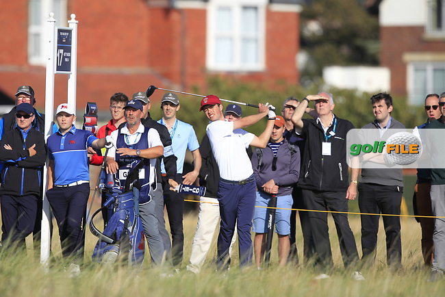Cole Hammer (USA) on the 17th tee during Day 1 Singles of the Walker Cup at Royal Liverpool Golf CLub, Hoylake, Cheshire, England. 07/09/2019.<br /> Picture: Thos Caffrey / Golffile.ie<br /> <br /> All photo usage must carry mandatory copyright credit (© Golffile | Thos Caffrey)