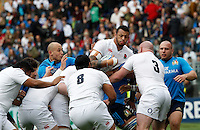 Rugby, Torneo delle Sei Nazioni: Italia vs Inghilterra. Roma, 14 febbraio 2016.<br /> England's Courtney Lawes in action during the Six Nations rugby union international match between Italy and England at Rome's Olympic stadium, 14 February 2016.<br /> UPDATE IMAGES PRESS/Riccardo De Luca