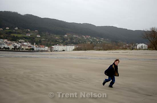 Nathaniel Nelson on the beach along the NW coast of Spain<br />