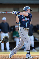 Third baseman Bailey Rush (10) of the Citadel bats in a game against the University of South Carolina Upstate Spartans on Tuesday, February, 18, 2014, at Cleveland S. Harley Park in Spartanburg, South Carolina. Upstate won, 6-2. (Tom Priddy/Four Seam Images)