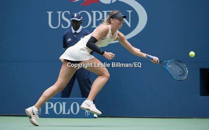 Maria Sharapova plays at the US Open being played on September  3, 2017 at Billy Jean King Ntional Tennis Center in Flushing, Queens, New York.  ©Leslie Billman/EQ