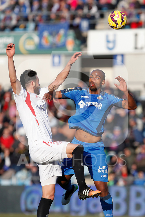 Getafe´s Naldo (R) and Sevilla´s  during 2014-15 La Liga match at Alfonso Perez Coliseum stadium in Getafe, Spain. February 08, 2015. (ALTERPHOTOS/Victor Blanco)