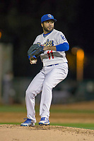 Rancho Cucamonga Quakes Pitcher Jordan Sheffield (11) delivers a pitch to the plate against the Inland Empire 66ers at LoanMart Field on April 12, 2018 in Rancho Cucamonga, California. The 66ers defeated the Quakes 5-4.  (Donn Parris/Four Seam Images)