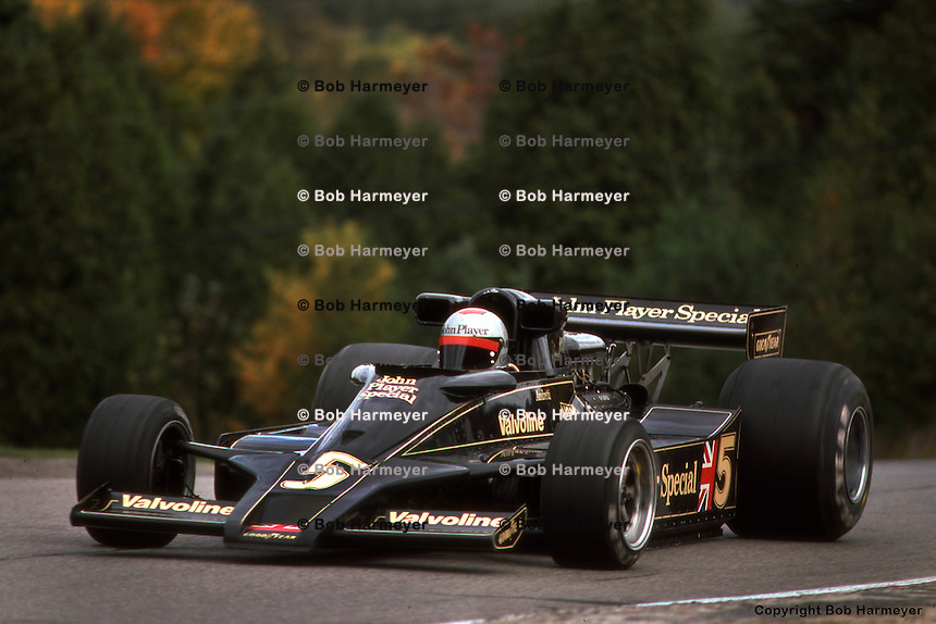 BOWMANVILLE, ONT - OCTOBER 9: Mario Andretti drives his Lotus 78 R3/Ford Cosworth DFV during the Canadian Grand Prix on October 9, 1977, at Mosport Park near Bowmanville, Ontario.