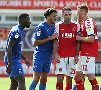 Fleetwood Town's Cian Bolger and Craig Morgan battle for space as they await a corner kick<br /> <br /> Photographer Stephen White/CameraSport<br /> <br /> The EFL Sky Bet League One - Fleetwood Town v AFC Wimbledon - Saturday 4th August 2018 - Highbury Stadium - Fleetwood<br /> <br /> World Copyright &copy; 2018 CameraSport. All rights reserved. 43 Linden Ave. Countesthorpe. Leicester. England. LE8 5PG - Tel: +44 (0) 116 277 4147 - admin@camerasport.com - www.camerasport.com