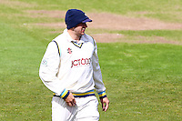 PICTURE BY ALEX WHITEHEAD/SWPIX.COM - Cricket - LV County Championship Match, Day 1 - Yorkshire vs Derbyshire - Headingley, Leeds, England - 29/04/13 - Yorkshire's Tim Bresnan wears two hats to keep warm.